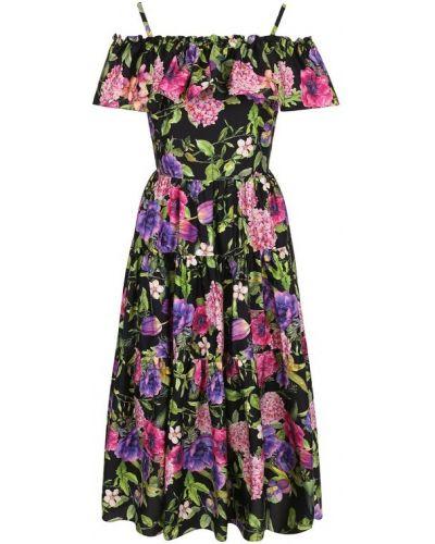 Платье миди с цветочным принтом с открытыми плечами приталенное Weill