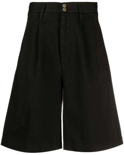 Хлопковые черные с завышенной талией шорты Forte Forte