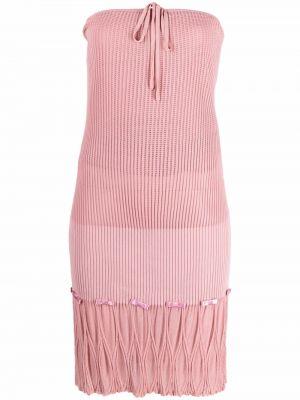 Różowa sukienka z wiskozy Christian Dior