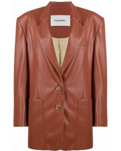 Коричневый кожаный удлиненный пиджак с карманами Nanushka