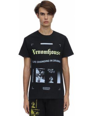 Czarny t-shirt bawełniany z haftem Taboo