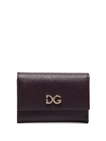 Фиолетовый кожаный кошелек с камнями Dolce & Gabbana