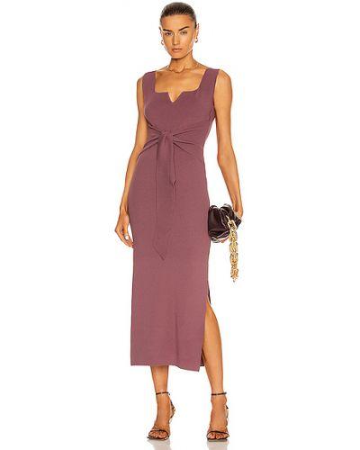 Платье с декольте с драпировкой из вискозы Nanushka