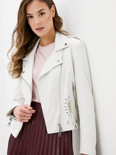 Кожаная куртка весенняя белая Imperial