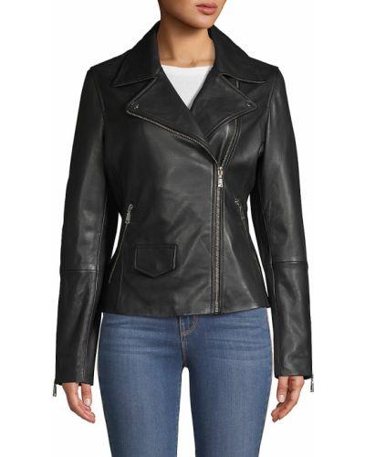 Длинная черная кожаная куртка из натуральной кожи T-tahari