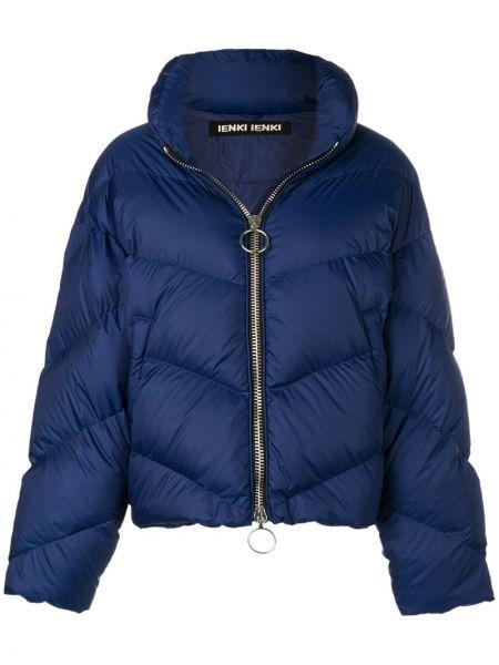 Прямая синяя куртка на молнии с воротником Ienki Ienki
