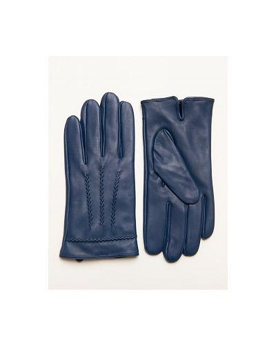 Синие кожаные перчатки каляев