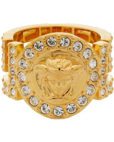 Pierścień złoto metal Versace