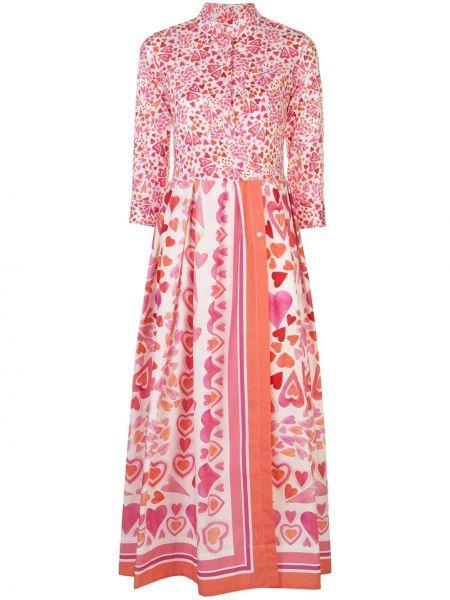 Расклешенное розовое платье на пуговицах с воротником Sara Roka