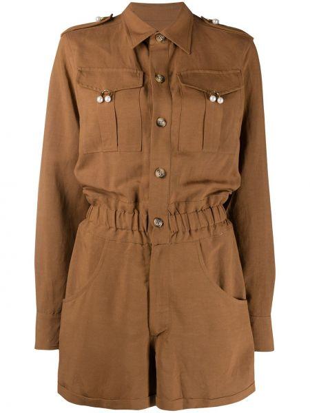 Комбинезон из вискозы - коричневый Forte Dei Marmi Couture