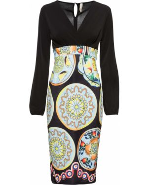 Платье миди с длинными рукавами с принтом Bonprix