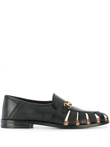Czarny loafers z prawdziwej skóry na pięcie kaskada Gucci