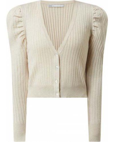 Beżowy sweter z dekoltem w serek Only