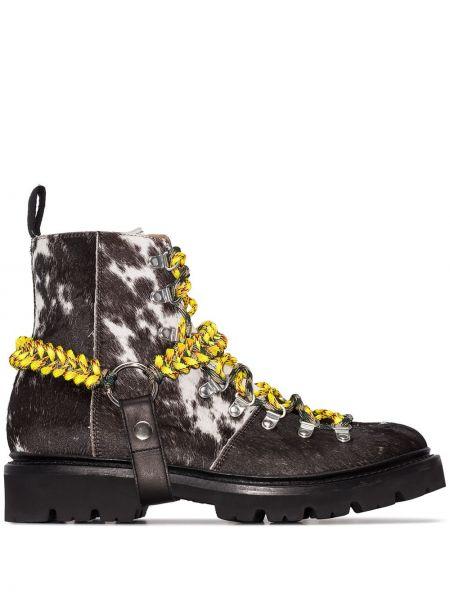 Ażurowe czarne ankle boots skorzane House Of Holland