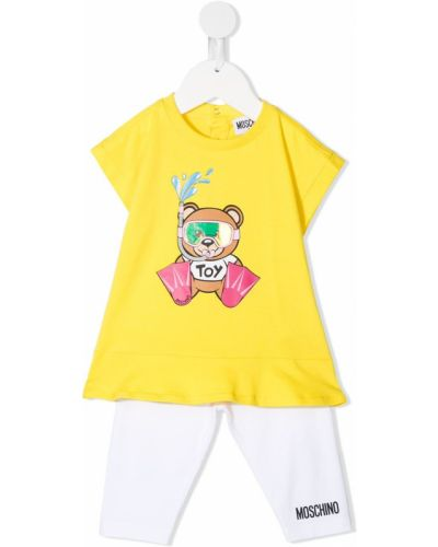 Żółty dres bawełniany krótki rękaw Moschino Kids