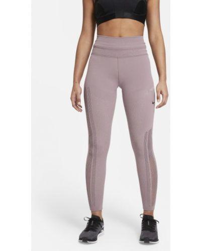 Fioletowe legginsy do biegania dzianinowe Nike