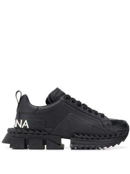 Массивные черные кожаные кроссовки Dolce & Gabbana