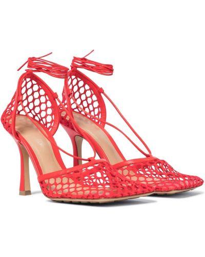Кожаные туфли-лодочки с опушкой сетчатые Bottega Veneta