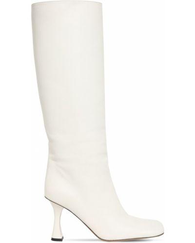 Белые сапоги без каблука на каблуке из натуральной кожи Proenza Schouler