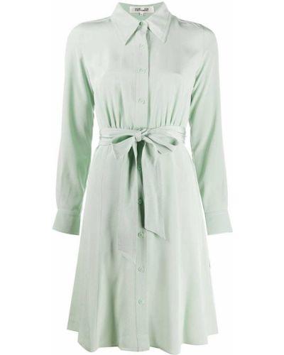 Зеленое шелковое платье на пуговицах с воротником Dvf Diane Von Furstenberg