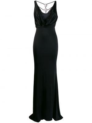 Черное платье макси с вырезом без рукавов Philipp Plein