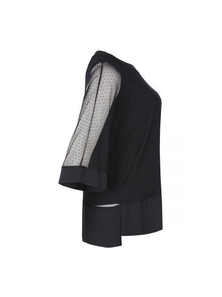 Черная блузка с коротким рукавом с рисунком оверсайз с круглым вырезом Mat Fashion