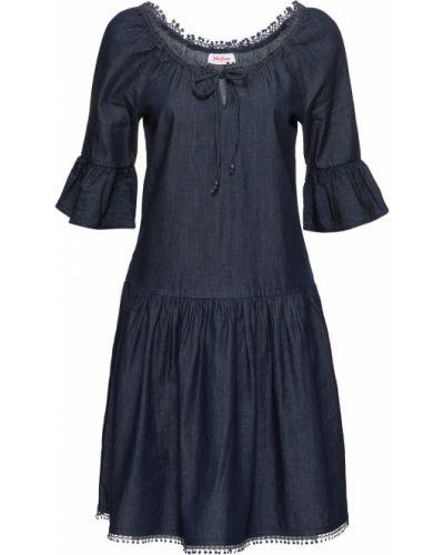 Джинсовое платье синее с вырезом Bonprix