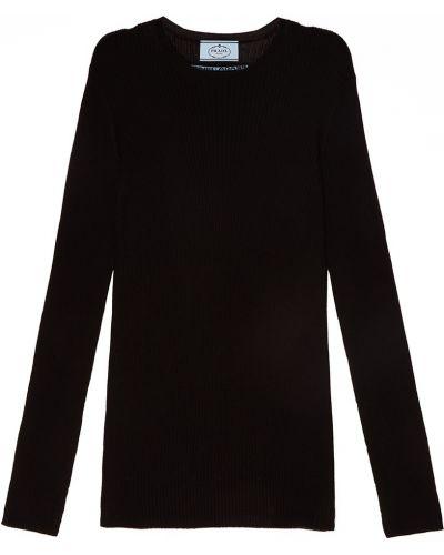 Черный свитер в рубчик Prada