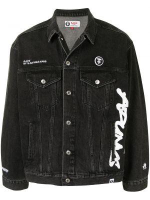 С рукавами черная джинсовая куртка с воротником Aape By A Bathing Ape