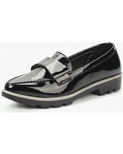 Лоферы черные на каблуке Topway