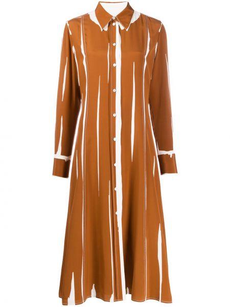 Коричневое с рукавами шелковое платье макси Paul Smith