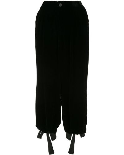 Черные укороченные брюки с завязками с поясом с манжетами Aleksandr Manamïs