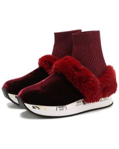 Красные кроссовки текстильные Premiata