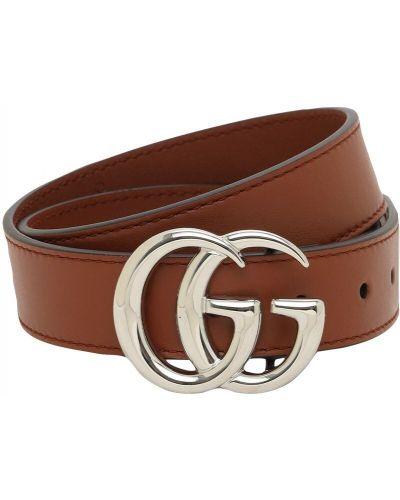 Brązowy skórzany pasek z paskiem z klamrą Gucci