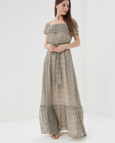 Бежевое платье с открытыми плечами Lusio