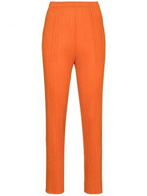 Оранжевые брюки с завышенной талией в рубчик Pleats Please Issey Miyake