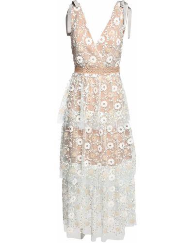 Платье миди с пайетками с цветочным принтом Self-portrait