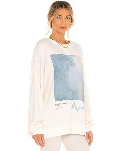 Prążkowany biały sweter bawełniany Selkie