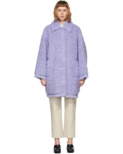 Замшевое длинное пальто для полных с воротником Stand Studio