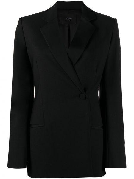 Черный удлиненный пиджак двубортный с карманами Joseph
