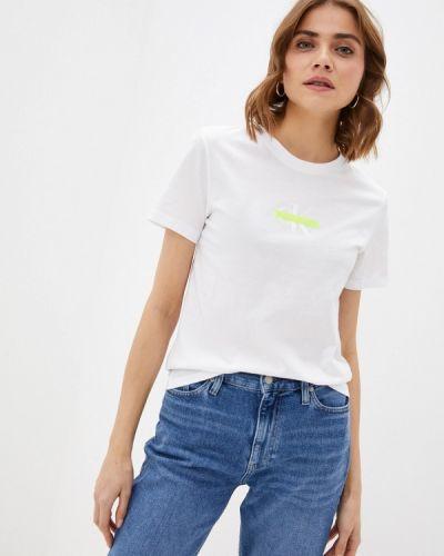 Белая футболка с короткими рукавами Calvin Klein Jeans