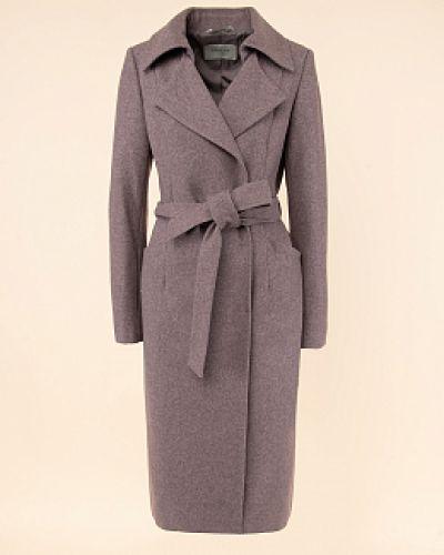 Коричневое шерстяное пальто с воротником Avalon