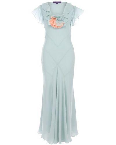 Платье макси голубой шелковое Ralph Lauren