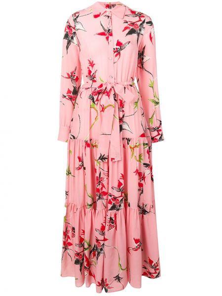 Классическое розовое платье на пуговицах с воротником La Doublej