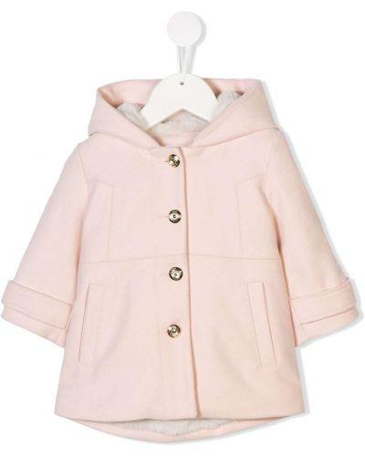 Różowy płaszcz wełniany z kapturem Chloé Kids