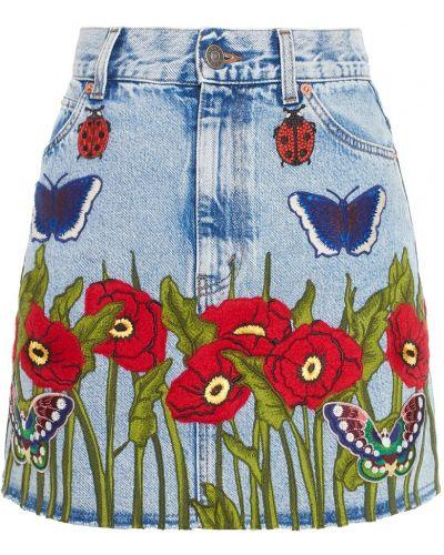Джинсовая юбка с завышенной талией с вышивкой Gucci