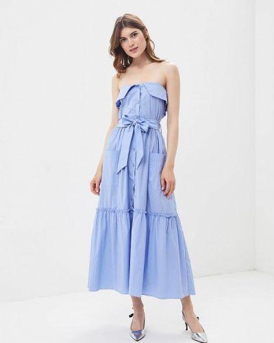 Голубое платье с открытыми плечами Imperial