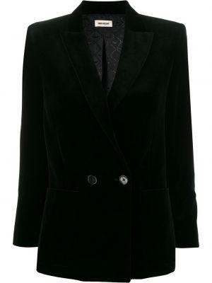 Классическая черная куртка с лацканами на пуговицах Zadig&voltaire
