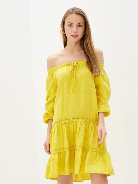 Желтое платье с открытыми плечами Baon