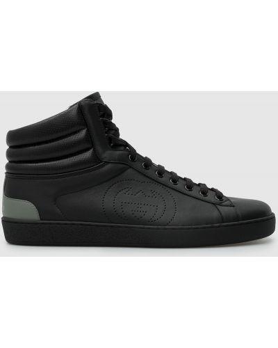 Черные кожаные кроссовки Gucci